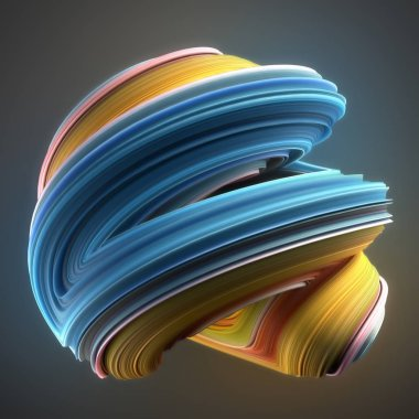 Blue and yellow colored twisted shape. Computer generated abstract geometric 3D render illustration
