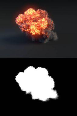 Explosion with black smoke in dark 3d rendering