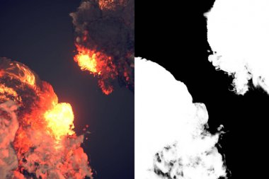 Composition with large explosions in dark 3d rendering
