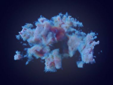 Chemical blue cloud on dark background 3d rendering