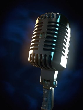 Vintage microphone on dark background 3d rendering