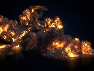 Large fireball isolated on dark background. 3d rendering