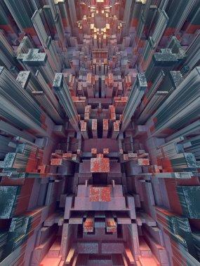 Abstract colored futuristic techno pattern. Digital 3d illustration