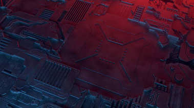 Abstract metallic pattern. Futuristic techno background illuminated by colored lights. Digital 3d illustration