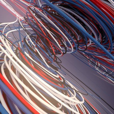 Interlacing abstract blue red and white curves. 3D rendering