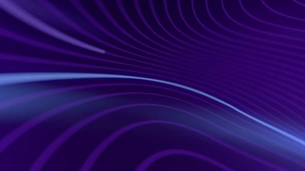 Torz hullámú vezetékek, mozgó fénylő vonalakkal a síneken. 3D hurok animáció. Hd.