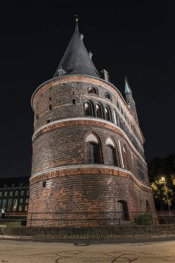 Holstentor in Luebeck at night
