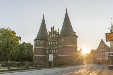 Holstentor in Luebeck during sunrise