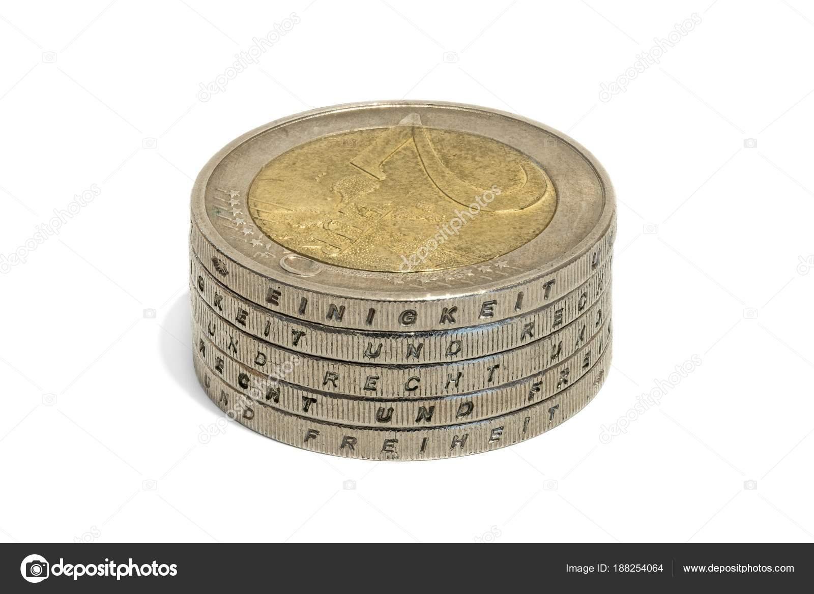 Gestapelte Euro Münzen Mit Den Deutschen Worten Einigkeit Und Recht