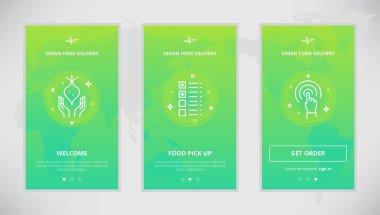 Vegan Food delivery service app screens