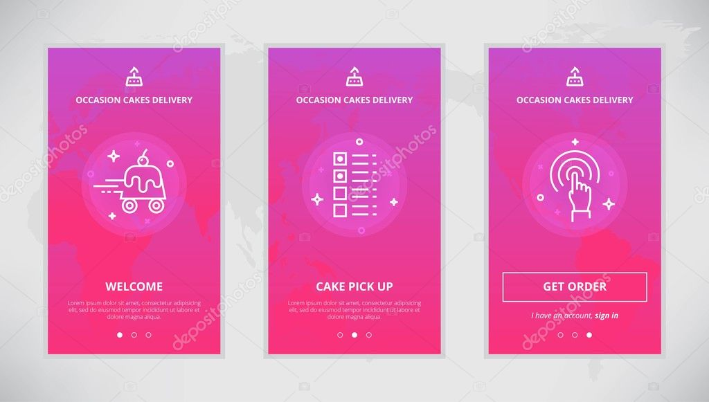 Onboarding Design Concept For An Occasion Cakes Delivery Service Modern Vector Outline Mobile App Set Of The Birthday Services