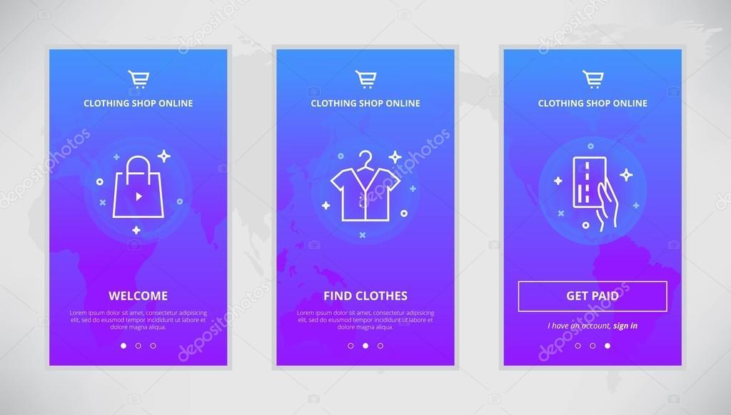 Clothing shop online app screens design — Stock Vector