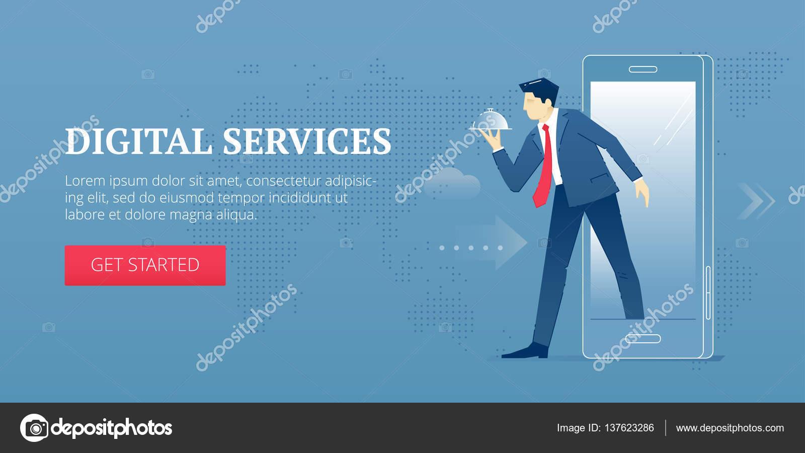 Digitale Dienstleistungen Web-banner — Stockvektor © super-belickaya ...