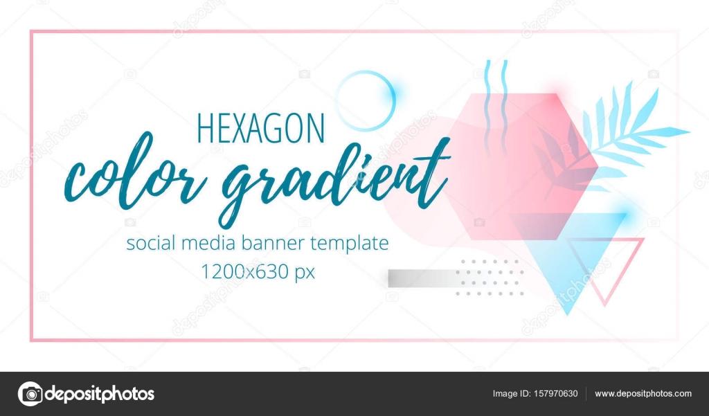 Hexagon color gradient social media banner template timeline — Stock ...