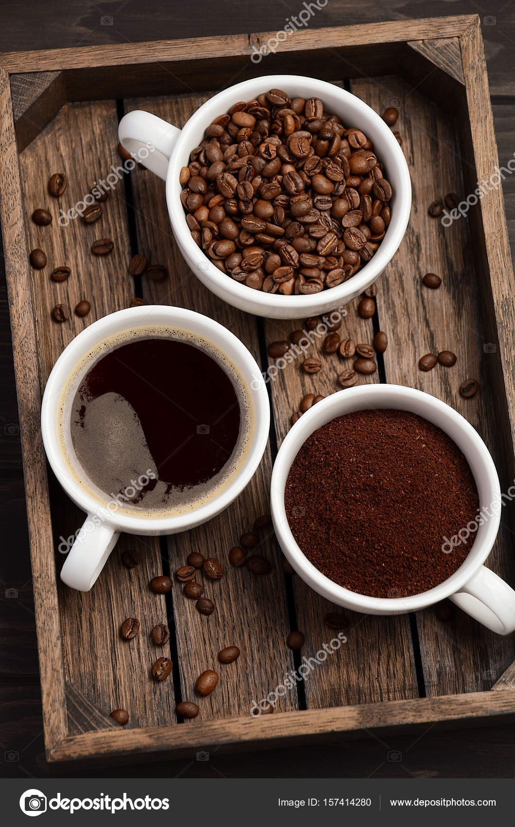 Verschiedene Arten von Kaffee - Boden, Getreide und Getränke auf ...