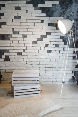 Room with a white brick wall, skin