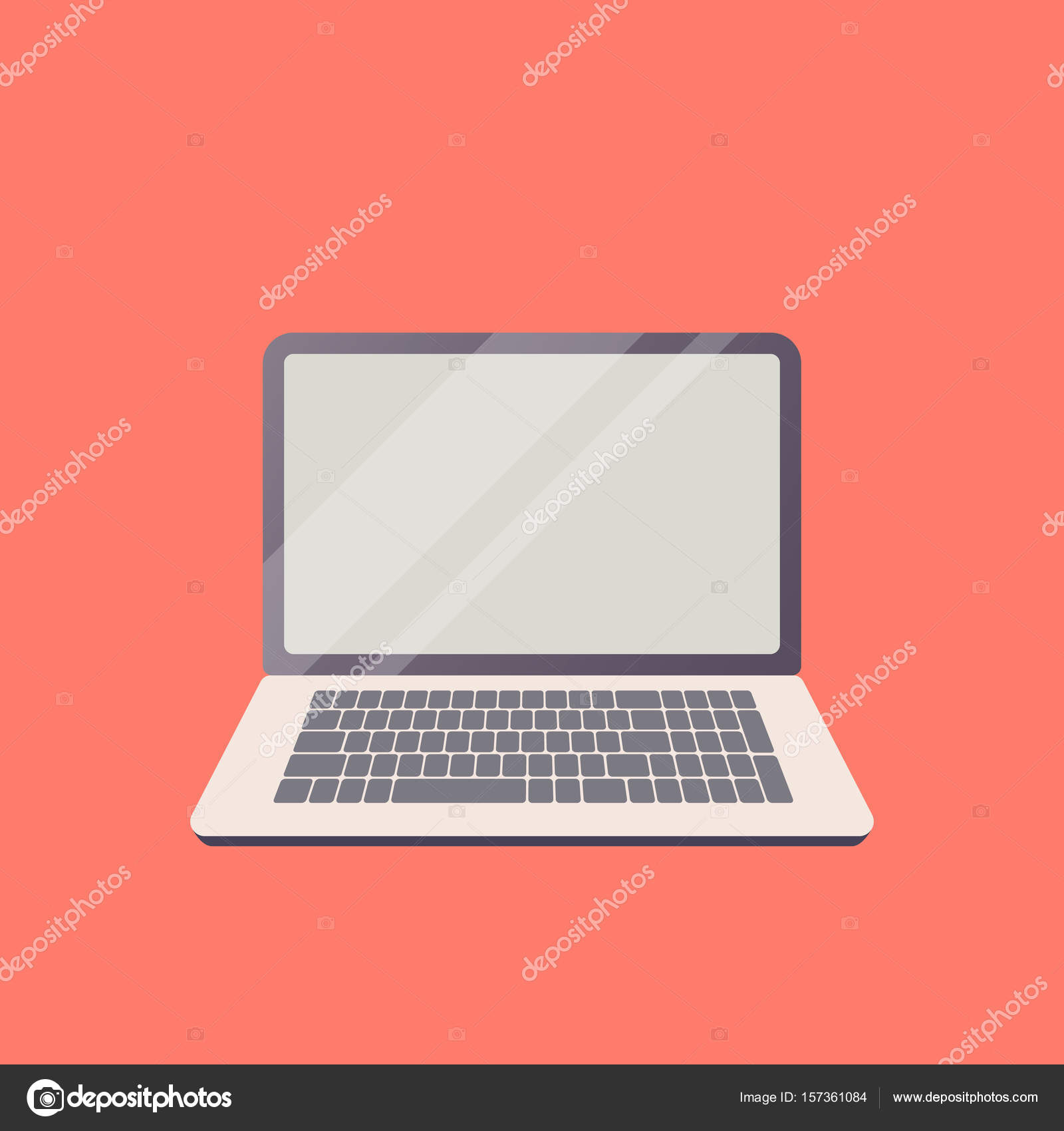 vector laptop on the theme of new technology in flat design an