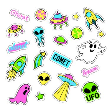Pop art set with fashion patch badges and different ufo elements. Stickers, pins, patches, quirky, handwritten notes collection. 80s-90s style. Trend. Vector illustration isolated.