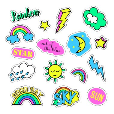 Pop art set with fashion patch badges and different sky elements. Stickers, pins, patches, quirky, handwritten notes collection. 80s-90s style. Trend. Vector illustration isolated.