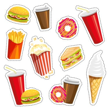 Set of colorful cartoon fast food icons on white background. Isolated vector illustration. Fashion patch, badges, stickers, pins, patches, quirky. 80s-90s style.