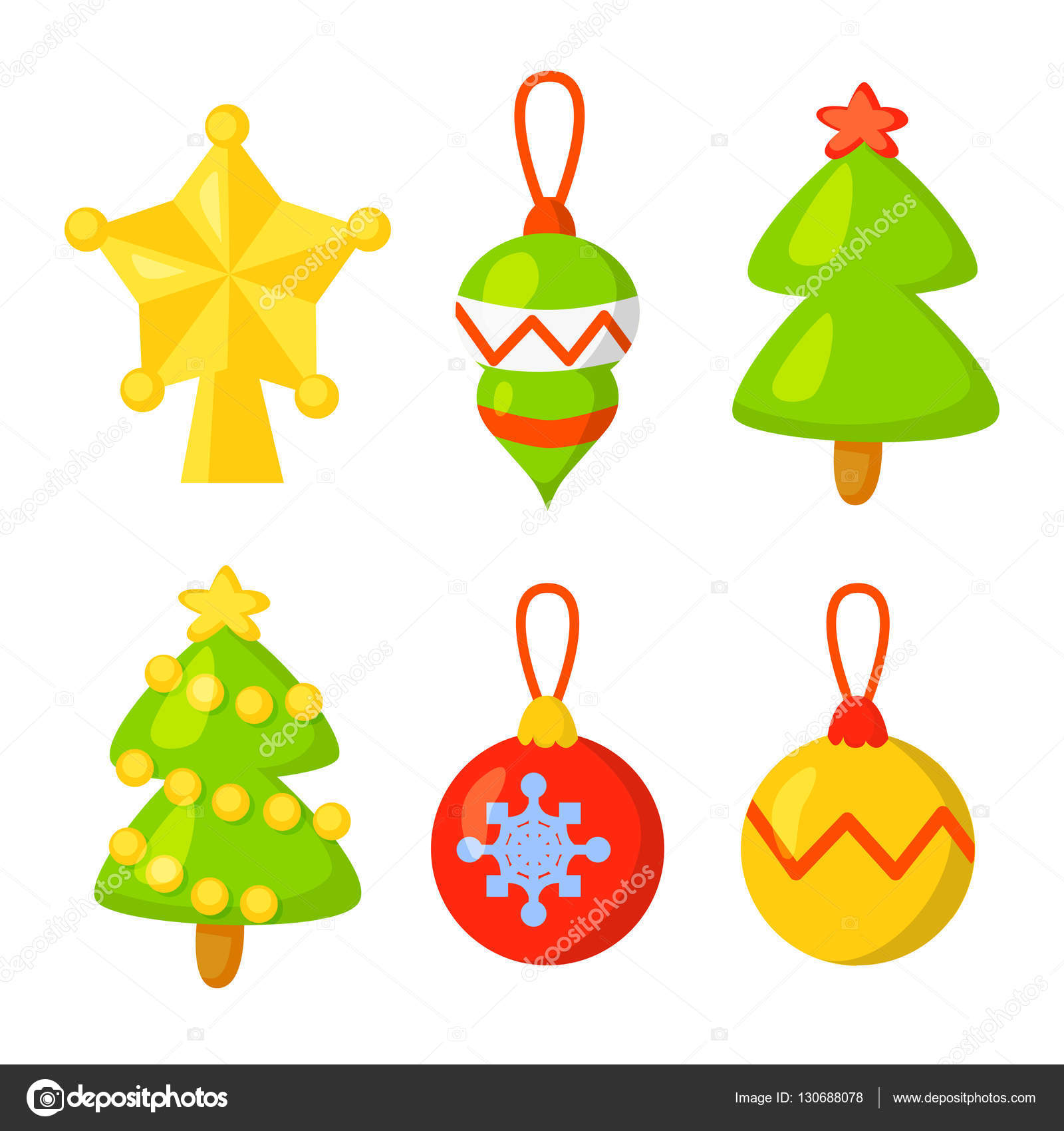Christmas Icon Set Collection Vector. cartoon. New year traditional ...