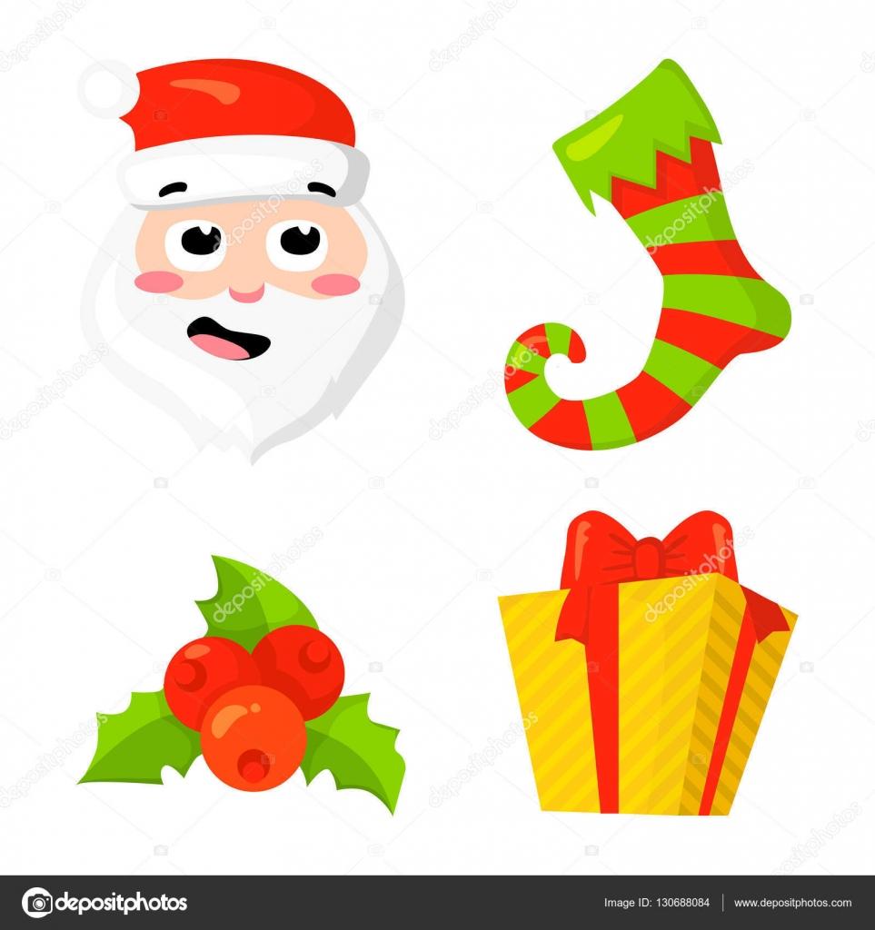 Christmas Icon Set Collection Vektor. Cartoon. Neue Jahr ...