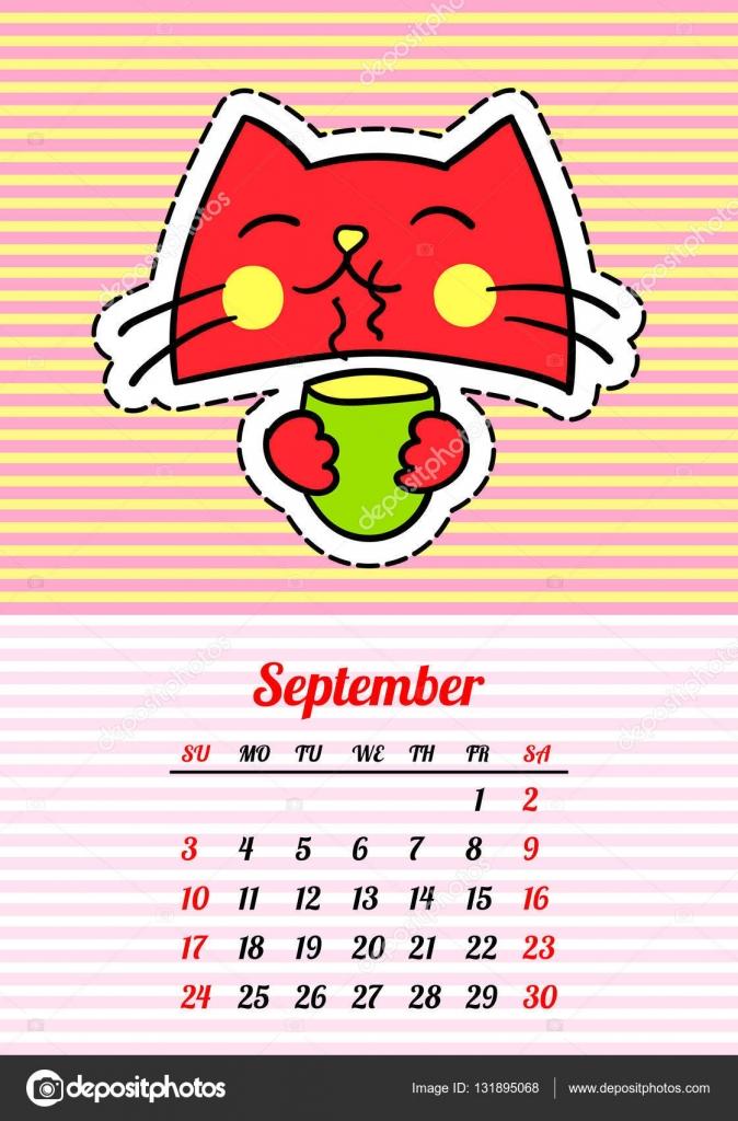 Calendario Dibujo Septiembre.Dibujos Animados De Septiembre Calendario 2017 Con Los