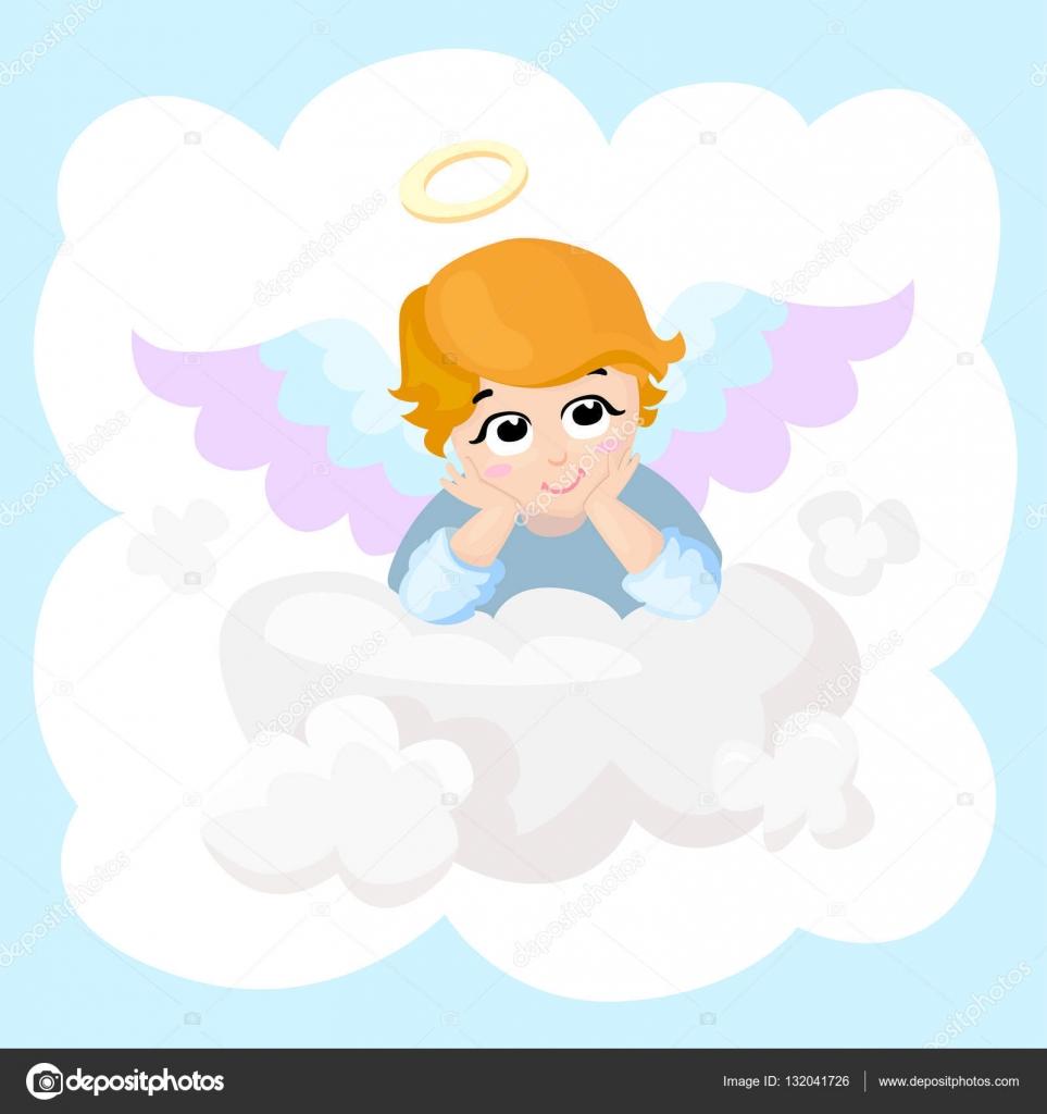 gratulationskort bebis Bebis ängel vektor tecknad figur. vingar på ett moln  gratulationskort bebis