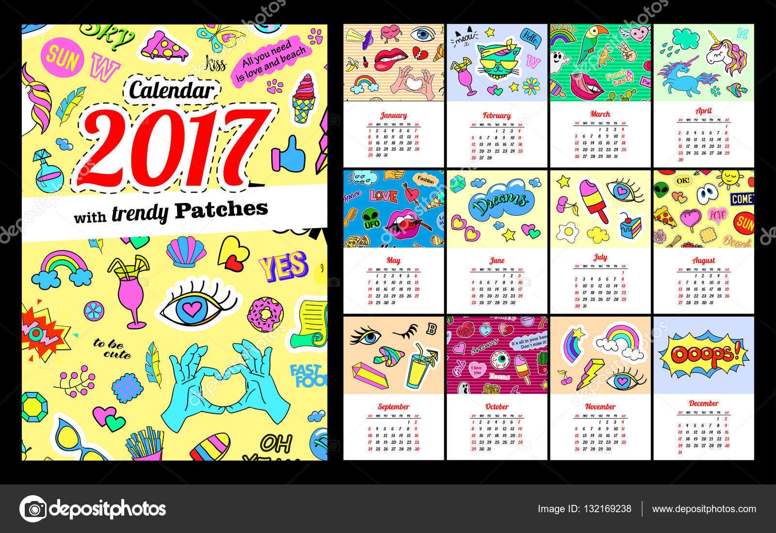 Calendario 2017 En Dibujos Animados De Los 80 90 Estilo Comic Moda
