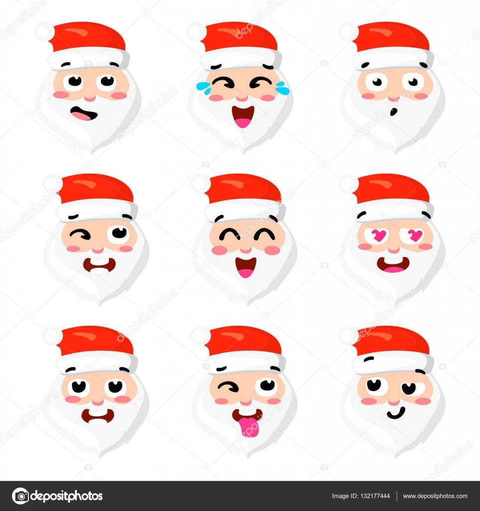 クリスマス セット サンタの六つの感情面ベクトル漫画のイラスト