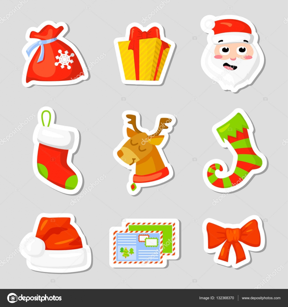 christmas icon set collection vector cartoon new year traditional symbols icons objects isolated vector clip art vector by mskorchenko1805gmailcom