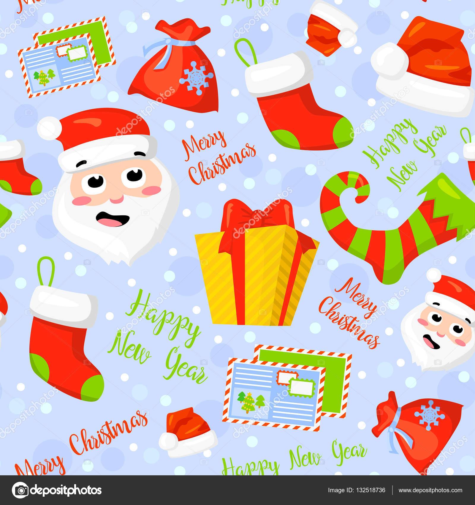 Seamless pattern with cute cartoon christmas mittens candy cane seamless pattern with cute cartoon christmas mittens candy cane holly berries smiling snowman biocorpaavc