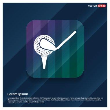 golf ball, club and tee icon