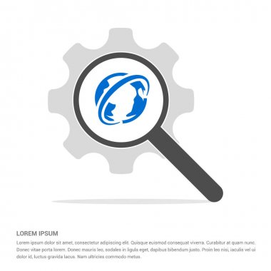 Magnifier search icon with earth globe. vector illustration stock vector