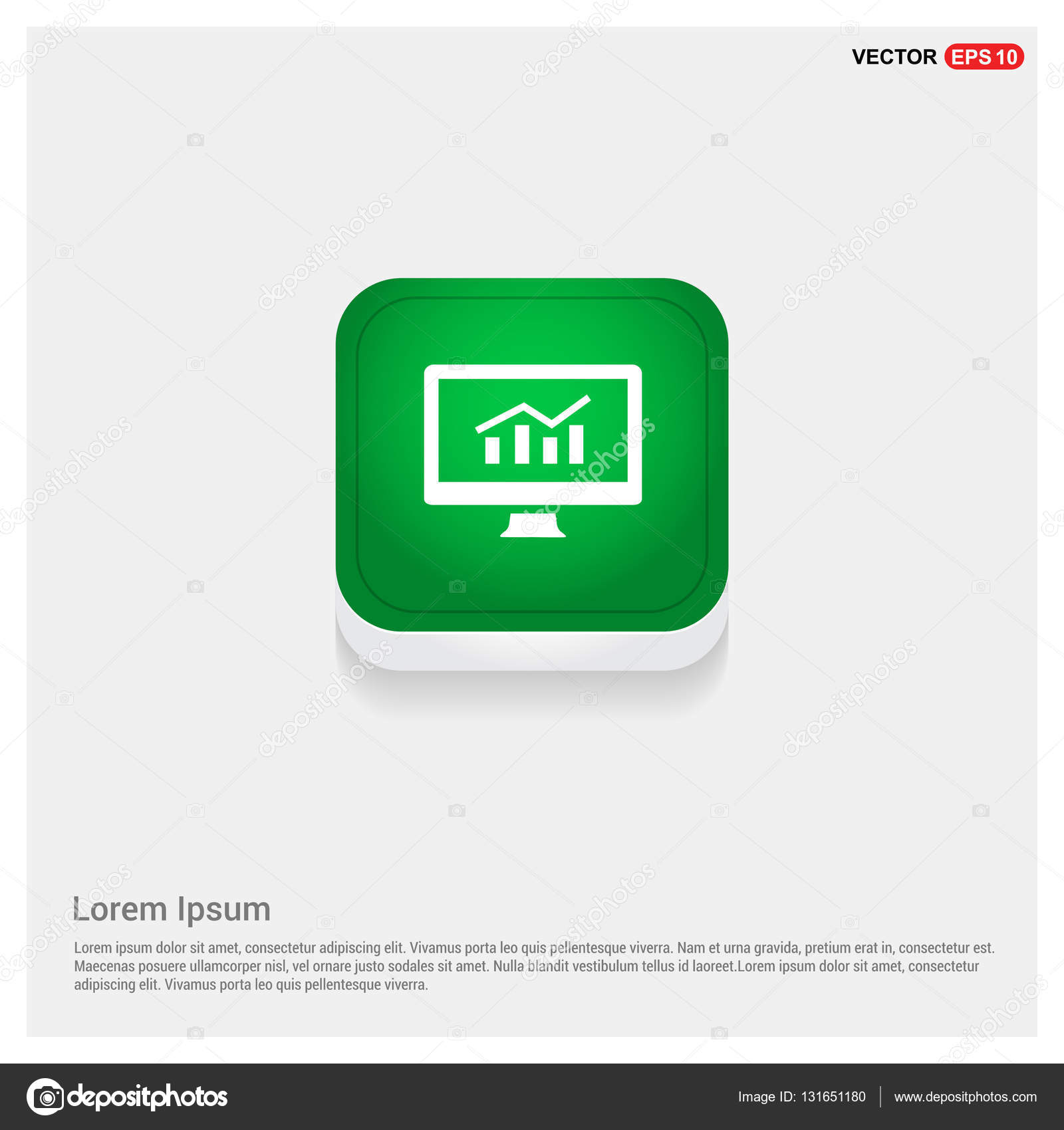 growth diagram on desktop monitor icon  monitoring concept — vector by