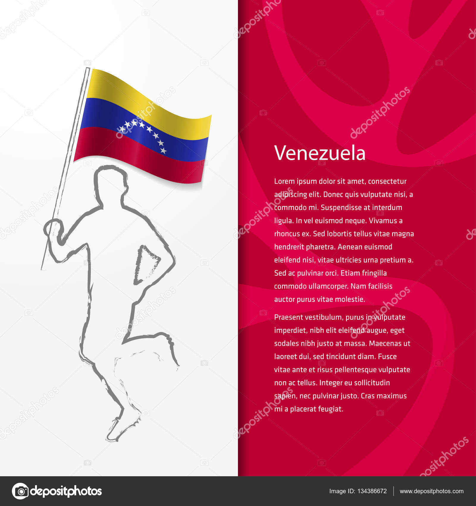 Brochure with man holding venezuela flag stock vector brochure template design with silhouette of running man holding venezuela flag vector illustration vector by ibrandify pronofoot35fo Gallery