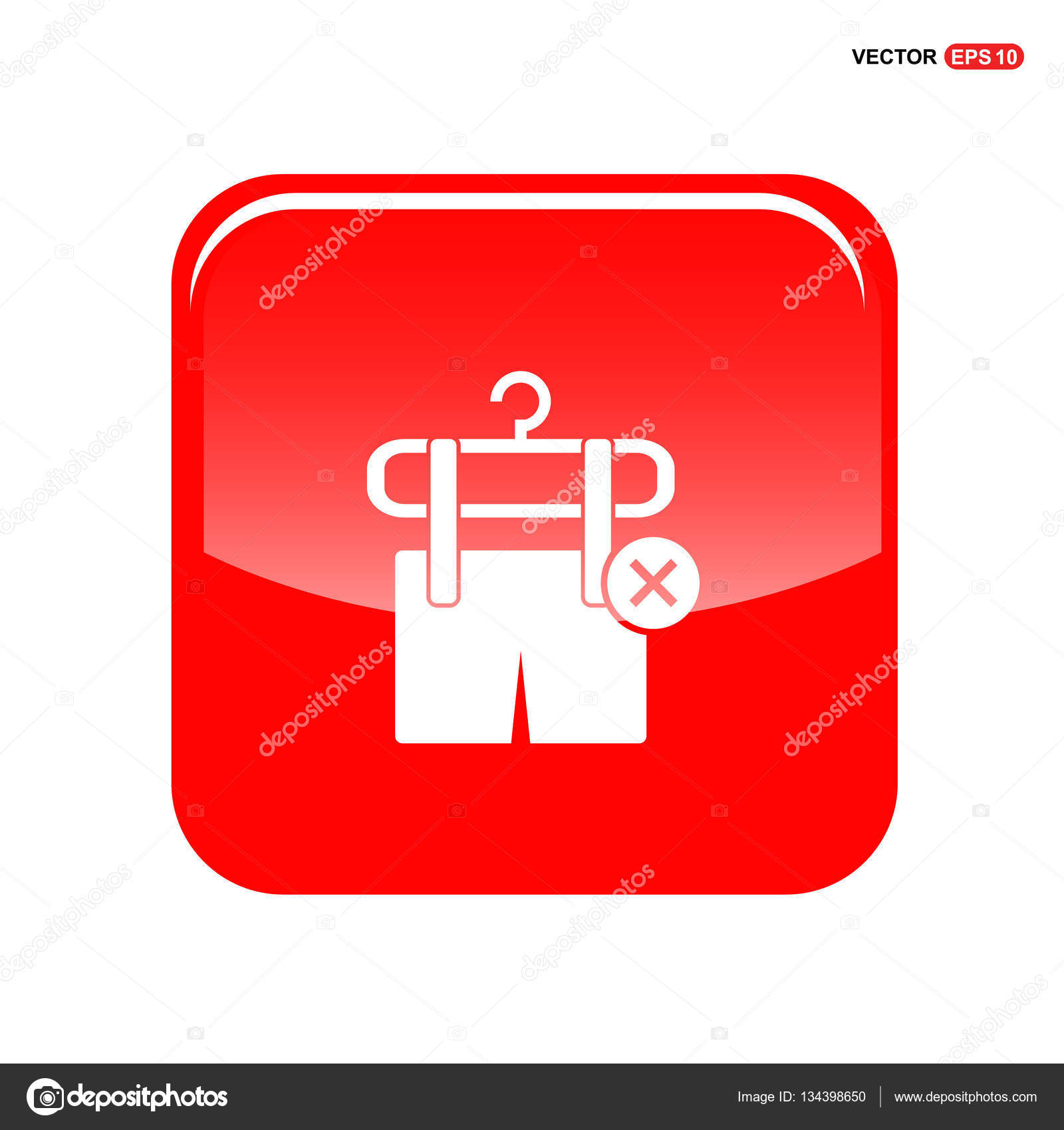 remove clothing item on hanger icon — Stock Vector