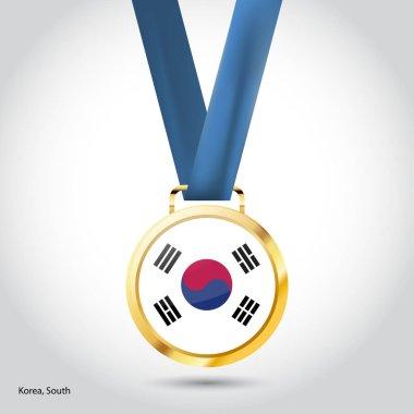 South Korea flag in golden medal