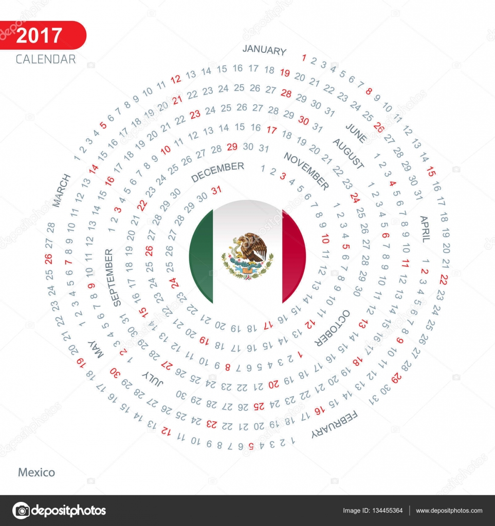 2017 calendar with mexico flag u2014 stock vector ibrandify 134455364