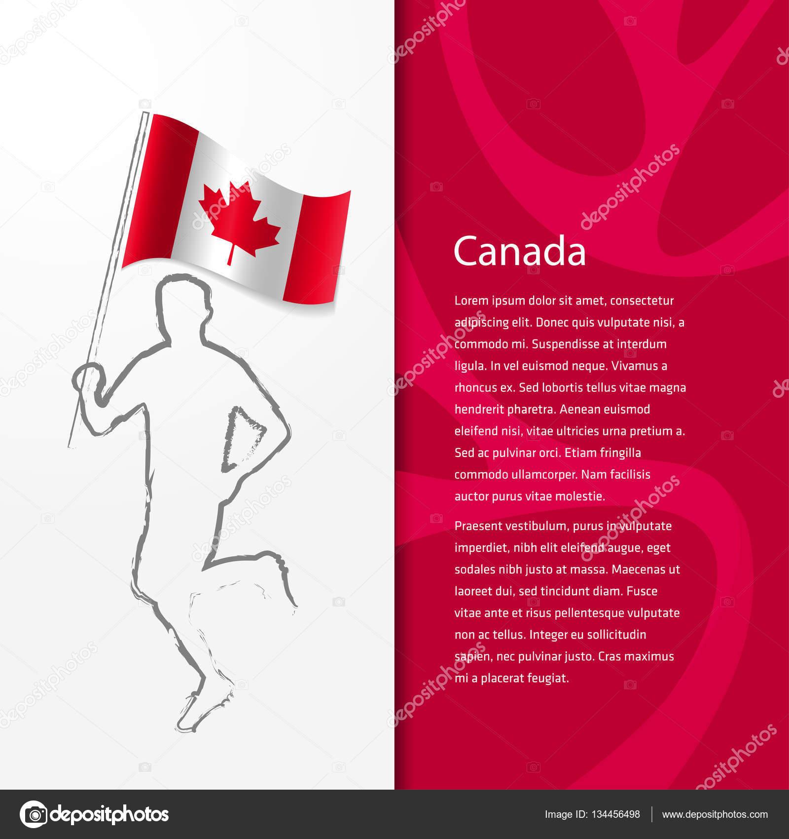 folleto con hombre sosteniendo la bandera de Canadá — Archivo ...