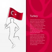 Fotografie brochure with man holding Turkey flag