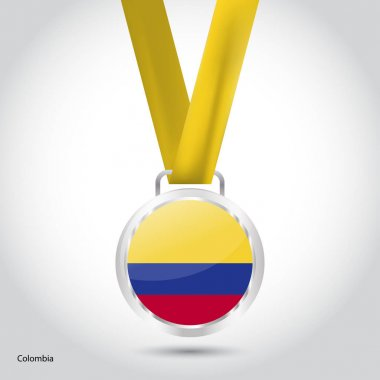 Colombia flag in silver medal