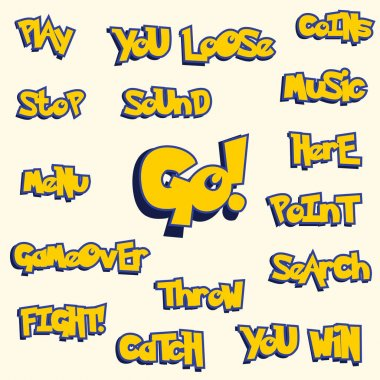 yellow words in pokemon game style