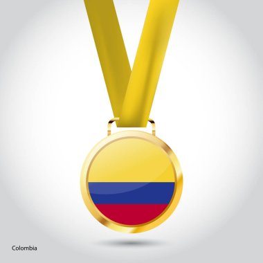 Colombia flag in golden medal
