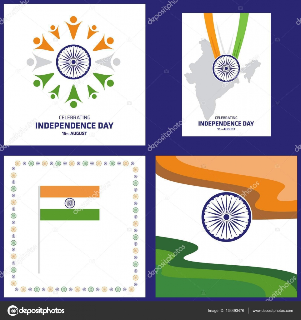 Set Of India Independence Day Cards Stock Vector Ibrandify