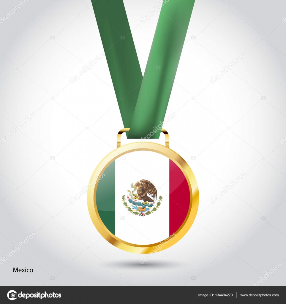 mexico flag in golden medal u2014 stock vector ibrandify 134494270