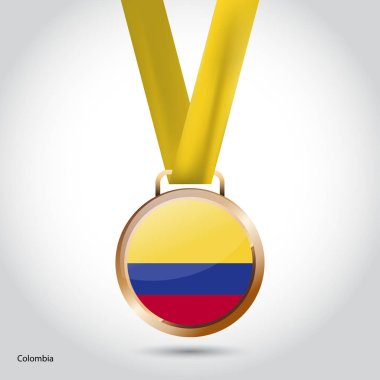 Colombia flag in bronze medal