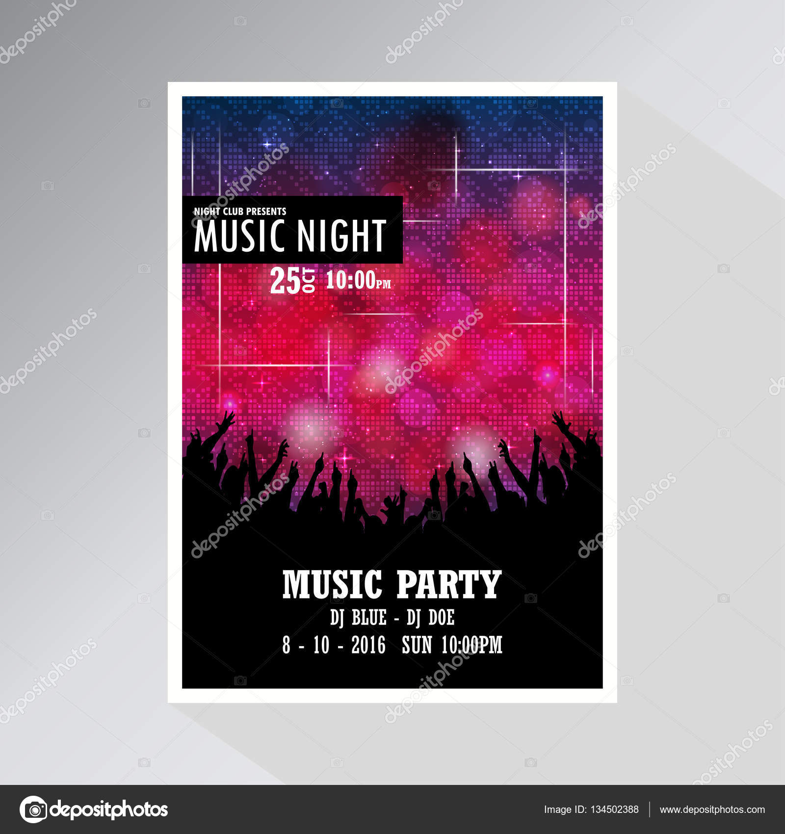 Music party invitation card stock vector ibrandify 134502388 music party invitation card stock vector stopboris Image collections