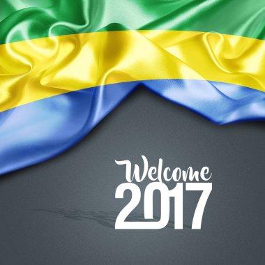 waving flag of Gabon