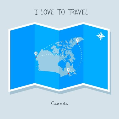 Canada on blue world map